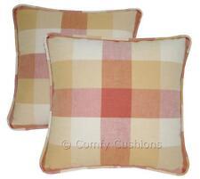 "Pair 12""x12"" Laura Ashley 'Mitford Check' Brick fabric Sq Cushions"