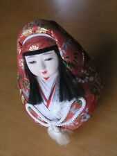 Vintage Darling Japanese Hime Daruma Doll Inset Glass Eyes Composition Face 7""
