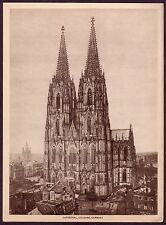 Vintage Cathedral Cologne Germany Gothic Architecture Photo Photogravure Print
