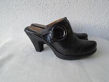 Sofft EuroSoft Black Leather Slip On Mules Size 6 1/2