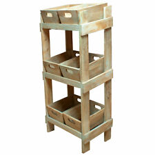 Rustic Reclaimed Wood Crate Display Rack Storage Home Retail Shop (BK4X)