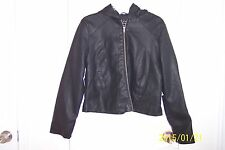 NEW Womens deb XL Black Faux Leather Hoodie Lined Excellent Jacket!!!