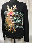 REINDEER Top Long Sleeve Black CHRISTMAS LIGHTS Ugly Sweater Glitter Small 3 - 5