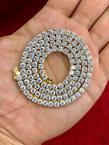 """14k Yellow Gold Over Sterling Silver Tennis Chain 4mm Round Cut VVS1 Diamond 28"""""""