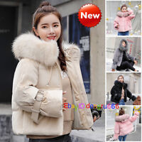 2019 Fashion Winter Women Down Cotton Parka Short Fur Collar Hooded Coat Jacket