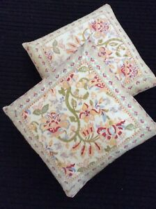 2 Pottery Barn Throw Pillow Cover Floral India Cotton 20x20