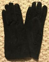 NEW Genuine Suede Leather Ladies Womens Black Sz M Gloves Driving Lined VINTAGE!