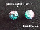 20 perles craquelées en verre ROSE et VERT 10mm création bijoux