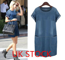 Plus size ! UK Stock Women Denim Jeans Shirt Pocket Lady loose Casual Dress hot