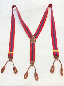 Vintage Button Suspenders Braces Blue & Red Leather W. Germany Cas