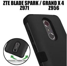 ZTE Blade Spark / ZTE Grand X 4 - Hybrid HARD&SOFT Armor Impact Case Cover Black