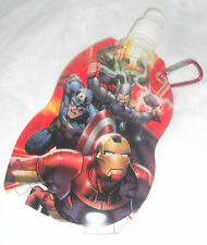 NEW AVENGERS FOLDING SPORTS WATER BOTTLE CARABINER CLIP REUSABLE ATTACHABLE