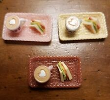 Miniature dolls house accessories Tray with Coffee and Ham & Salad Sandwich 1:12