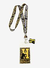 Harry Potter Hogwarts School HUFFLEPUFF ID Card Holder Neckstrap Lanyard w/Charm