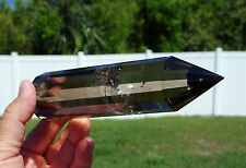 SMOKY Quartz VOGEL Style Crystal Super Clear 12 Sided DT Point Wand BRAZIL Stone