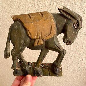✅ Handgeschnitzte Figur 4. ANTIK 18 cm Esel Widmung Opa 1935 Jugendstil Holz ALT