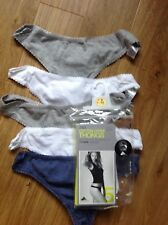 THONGS SIZE 6 M&S 5 PAIR GREY MIX COTTON/LYCRA FOR PERFECT FIT STAYNEW TECHNOLO