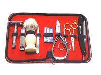 9pcs Men's Grooming Scissors Razors Hair Removal Gift Set Kit Zipper Case
