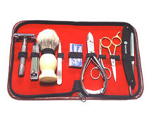9pcs Men's Grooming Gift Set Scissors Razors Hair Removal w/Zipper Case NEW
