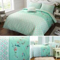 Sophie Birds Floral 100% Cotton Reversible Mint Duvet Cover & Pillowcase Set