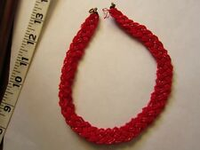 Vintage deco, braided choker red glass sead beads, gorgeous!