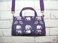 Elephants Purple Fabric Handmade Bag, Across body / shoulder bag