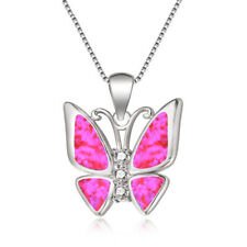 Sweet Pendant Necklace Wedding Jewelry Fashion simulated Opal Silver Butterfly