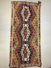 Vintage Turkish Kilim 348x161 cm wool kelim rug Large Red, Green, Black, Brown