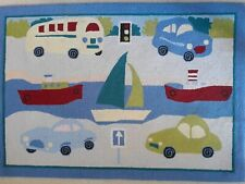 Wool Hooked Rug for Boy's Room ~ TRANSPORTATION ~ CARS ~ BOATS ~ BUS