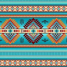 Tucson Turquoise Stripe Southwestern Aztec Elizabeth's Studio #6633 By the Yard