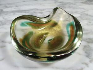 RARE MID CENTURY MURANO ARCHIMEDE SEGUSO MACCHIE VERDE ART GLASS BOWL W/ GOLD