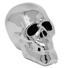 Lesser & Pavey Small Metallic Silver Chrome Art LED Light Up Skull Ornament