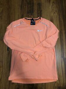 Mens Nike Therma Long Sleeve Running Top Shirt Orange Size L BV4707-892
