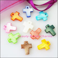 15Pcs Mixed Smooth Cross Flat Natural Shell Charms Pendants 10x13mm
