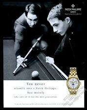 2000 Patek Philippe moon phase watch father son pool table pic vintage print ad