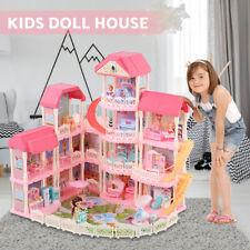 Puppenvilla DIY Spielhaus Puppenhaus Dollhouse Kinder Spielzeug 4 Etagen + Möbel