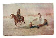 John Innes Cowboys Branding Cattle Western Art Postcard 1907 Horse