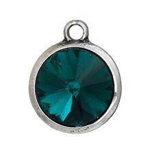 2 Emerald Green Rivoli Charms, Crystal Glass in Silver Bezel, 21x17mm, chs2699