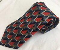 ermenegildo zegna Mens Blue Red Gray Geometric 100% Silk Tie Italy
