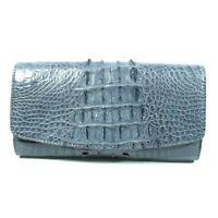 Gray Genuine Crocodile Alligator Leather Back Skin Women Tri-fold Clutch Wallet