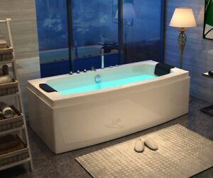 Whirlpool Badewanne 170x80 cm mit Armaturen 12 Massage Düsen freistehend günstig