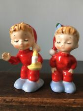 Rare Vintage Norcrest Salt & Pepper Shakers, Christmas Little Boy & Girl In PJs
