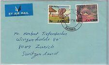 FAUNA: Elephant / Pangolin  - ZAMBIA -  POSTAL HISTORY: COVER to SWITZERLAND