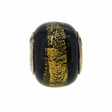 NEW PERSONA STERLING SILVER BLACK & GOLD ITALIAN GLASS CHARM $30 RETAIL H11395PM