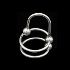 Stainless steel Double ball head Penis Ring Glans Wand urethra plug dilator