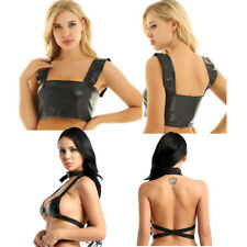 Womens PU Leather Tank Top Bustier Bra Wide Shoulder Straps Vest Halter Crop Top