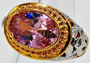 MEN RING PINK SAPPHIRE 18K 24K YELLOW WHITE GOLD FILLED GP WOMEN PINKY SIZE 6.75