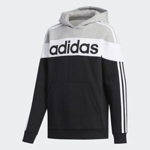 adidas boys black / grey linear hoodie with logo. Sweat top. Various sizes!