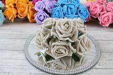 1 Bunch Colourfast Foam Rose Bouquet Wedding Artificial 6 Flowers 35 Colours 5cm Beige