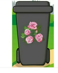 GREAT VALUE DESIGNER SELF ADHESIVE WHEELIE BIN ROSE DESIGN STICKER KIT MULTI-USE